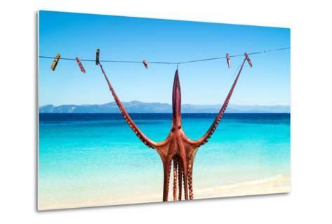 Octopus Hanging Up To Dry In The Sunshine In The Greek Islands-papadimitriou-Metal Print