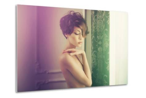 Fashion Art Photo of Young Sensual Lady in Classical Interior-George Mayer-Metal Print