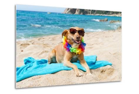 Relaxing Dog At The Beach With Flowers Garland-Ivonnewierink-Metal Print