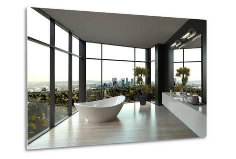Modern White Luxury Bathroom Interior-PlusONE-Metal Print