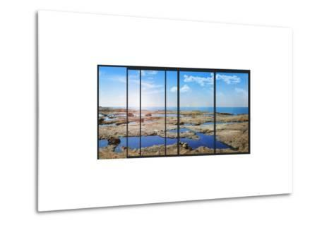 Panoramic Modern Window with a Stones and Sea Landscape- Whiteisthecolor-Metal Print