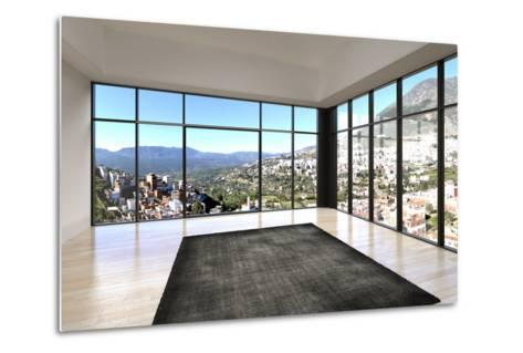 Empty Room Interior with Floor to Ceiling Windows and Scenic View-PlusONE-Metal Print
