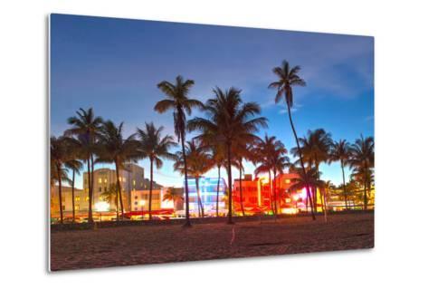 Miami Beach Florida Hotels And Restaurants At Sunset-Fotomak-Metal Print