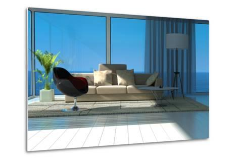 A Sunny Living Room with Large Windows-PlusONE-Metal Print