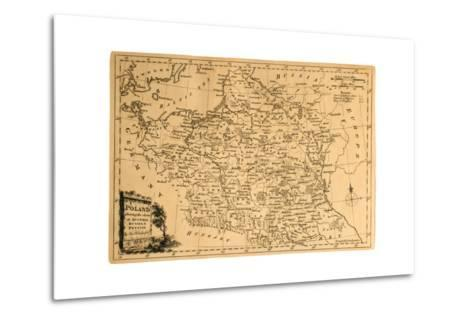 Old Map Of Poland-Tektite-Metal Print