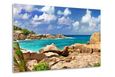 Amazing Seychelles With Unique Granite Rocks-Maugli-l-Metal Print