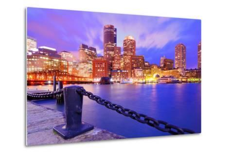 Financial District Of Boston, Massachusetts Viewed From Boston Harbor-SeanPavonePhoto-Metal Print