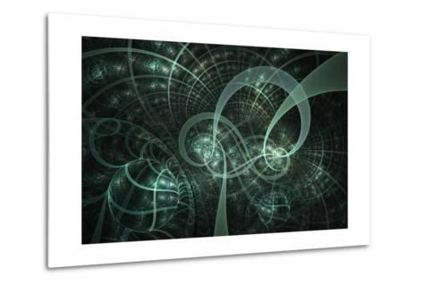 Blue Wheels Abstract Fractal Design- Algol2-Metal Print