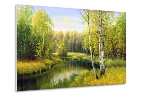 The Wood River In Autumn Day-balaikin2009-Metal Print