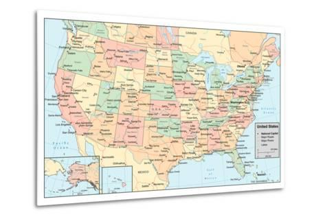 United States Of America Map- rook-Metal Print