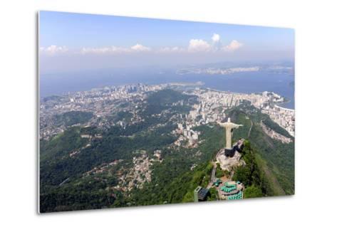 Aerial View Of Christ Redeemer And Corcovado Mountain In Rio De Janeiro-mangostock-Metal Print