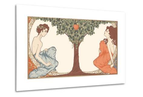 Adam and Eve, Art-Nouveau Style-drakonova-Metal Print