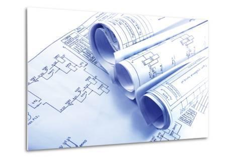 Engineering Electricity Blueprint Rolls-kaetana-Metal Print