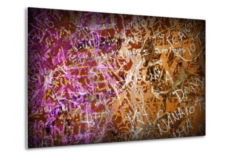 Colorful Grunge Background With Graffiti And Writings And A Slight Vignette-ccaetano-Metal Print