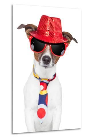 Crazy Silly Funny Dog Hat Glasses Tie-Javier Brosch-Metal Print