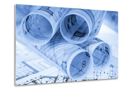 Rolls of Architecture Blueprints and House Plans--Vladimir--Metal Print