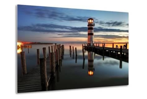 Lighthouse At Night-TomasSereda-Metal Print