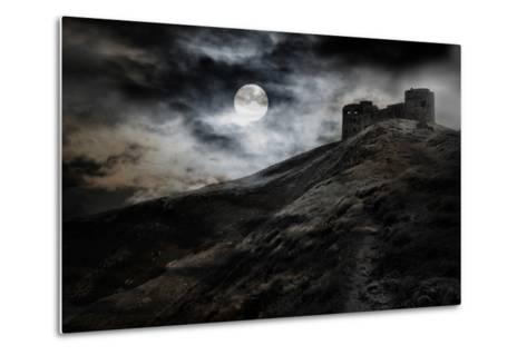 Night, Moon And Dark Fortress-fotosutra.com-Metal Print