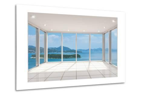 Empty Modern Lounge Area with Large Bay Window and View of Sea-FreshPaint-Metal Print