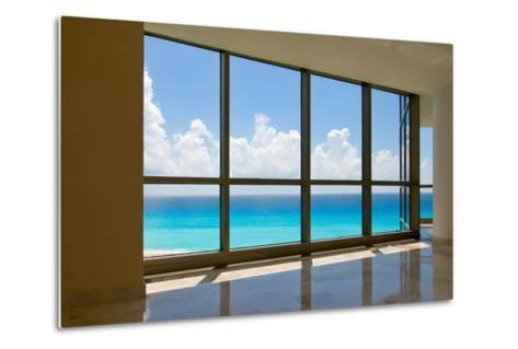 View of Tropical Beach Through Hotel Windows-nfsphoto-Metal Print