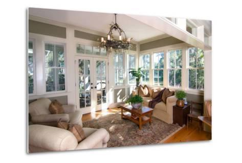 Furnished Sunroom with Large Windows and Glass Doors-Wollwerth Imagery-Metal Print