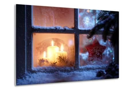Frosted Window with Christmas Decoration-Sofiaworld-Metal Print