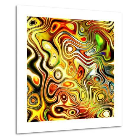 Art Glass Colorful Textured Red, Golden And Green Background-Irina QQQ-Metal Print