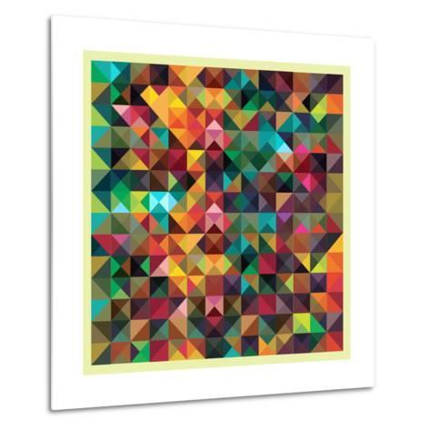 Colorful Triangles Modern Abstract Mosaic Design Pattern-Melindula-Metal Print