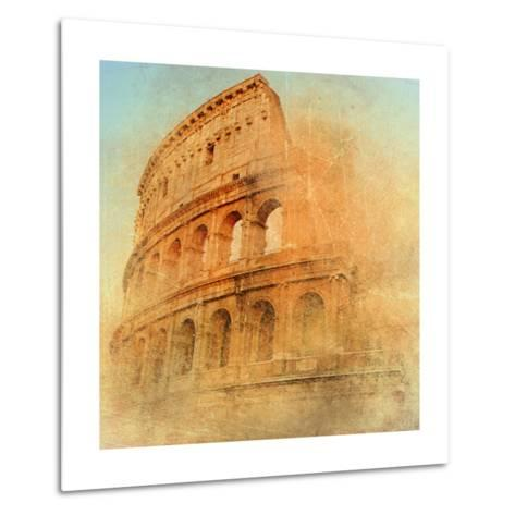 Great Antique Rome - Coloseum , Artwork In Retro Style-Maugli-l-Metal Print