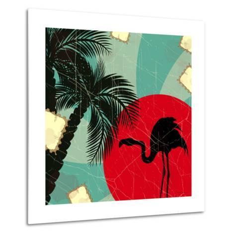 Retro Blue Tropical Background With Flamingo-elfivetrov-Metal Print