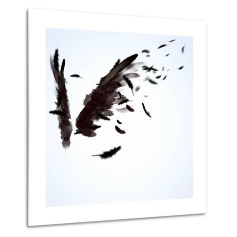 Abstract Image Of Black Wings Against Light Background-Sergey Nivens-Metal Print