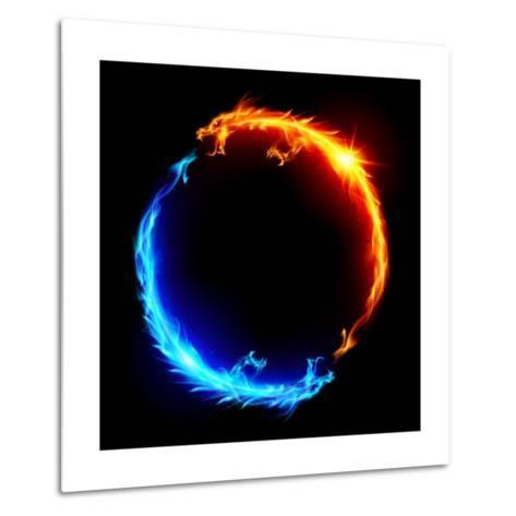 Blue And Red Fire Dragons-dvarg-Metal Print