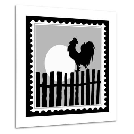 Silhouette Of The Cock On Postage Stamps-basel101658-Metal Print