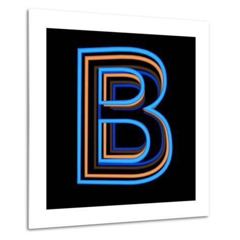 Glowing Letter B Isolated On Black Background-Andriy Zholudyev-Metal Print