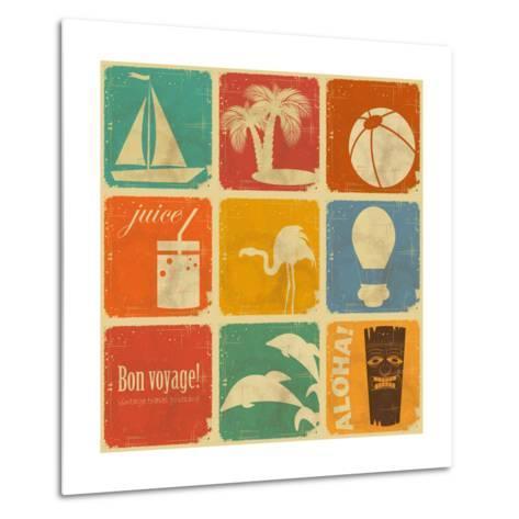 Set Of Vintage Travel Labels-elfivetrov-Metal Print