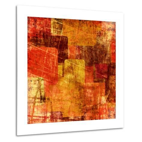 Squares On The Grunge Wall, Abstract Background-molodec-Metal Print