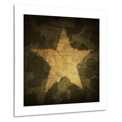 Military Camouflage Background With Grunge Star-pashabo-Metal Print