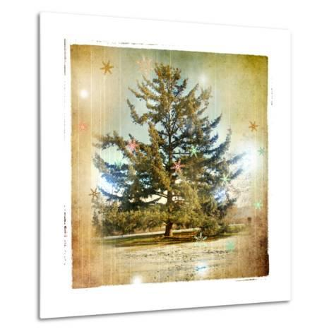 Vintage Winter Background With Pine Tree-Maugli-l-Metal Print
