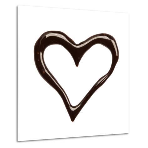 Close Up Chocolate Syrup Heart On White Background-donatas1205-Metal Print