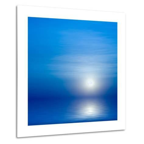 Moon, Sky And Blue Sea-alanuster-Metal Print