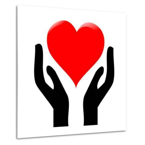 Hands Holding The Heart #1-kots-Metal Print