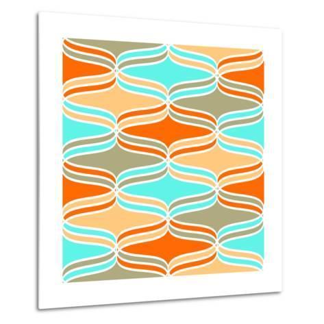 Geometric Wavy Lines Pattern- klivenkova-Metal Print