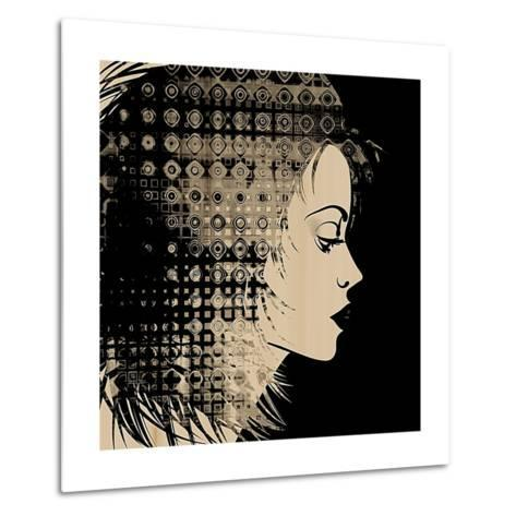 Art Sketched Beautiful Girl Face In Profile With Geometric Ornament Hair On Black Background-Irina QQQ-Metal Print