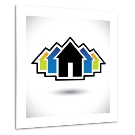 House (Home) And Residence Sign For Real Estate-smarnad-Metal Print