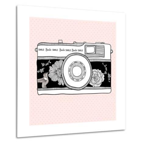 Background With Retro Camera. Photo Camera With Flowers And Birds-cherry blossom girl-Metal Print