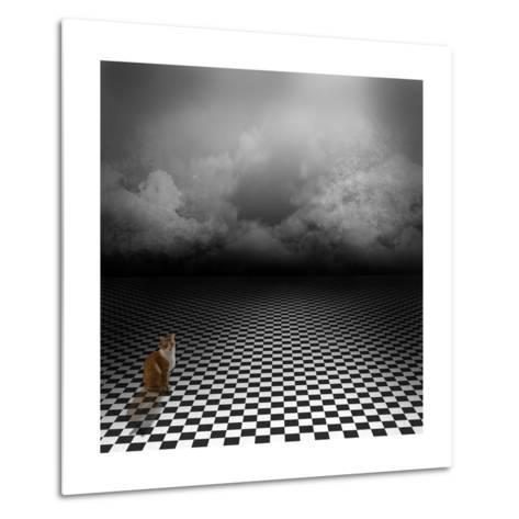 Ginger Cat Sitting In Empty, Dark, Psychedelic Image With Black And White Checker Floor-IngaLinder-Metal Print