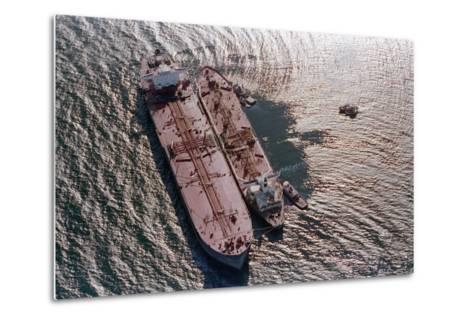 Tanker Pumping Oil from Exxon Valdez--Metal Print