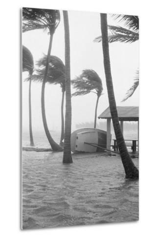 Boat Overturned by Hurricane Winds--Metal Print