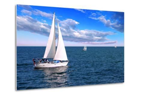Sailboat Sailing in the Morning with Blue Cloudy Sky-elenathewise-Metal Print