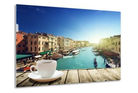Coffee on Table and Venice in Sunset Time, Italy-Iakov Kalinin-Metal Print